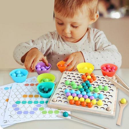 Jucărie din lemn de tip Montessori de îndemânare și asociere cu bile colorate BEAD HOLDER [1]