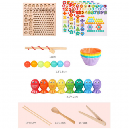 Jucărie din lemn multifuncțională de tip Montessori PUZZLE 3D, JOC DE STIVUIT, JOC DE PESCUIT MAGNETIC și JOC DE ASOCIERE CU BILE - Logarithmic plate with beads [6]