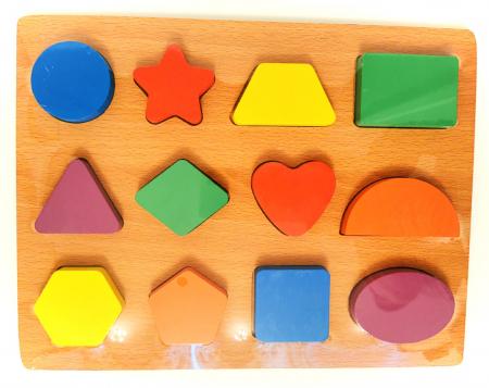 Puzzle incastru din lemn cu forme geometrice în relief [1]