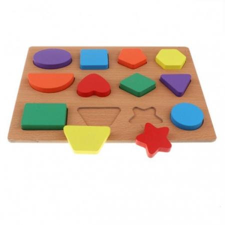 Puzzle incastru din lemn cu forme geometrice în relief [0]