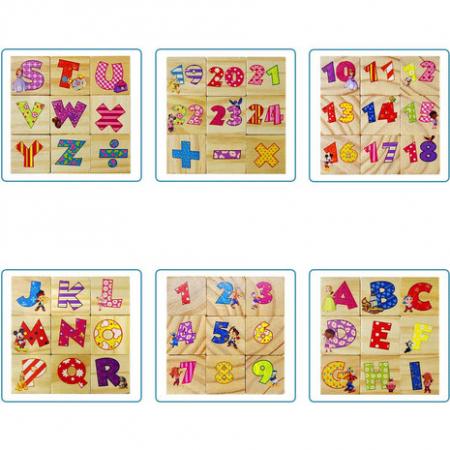 Set 9 cuburi din lemn cu litere, cifre, operaţii matematice şi personaje Disney [2]