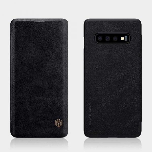 Husa Samsung Galaxy S10 Plus 2019 Negru Toc Flip Nillkin Qin Piele Eco Premium Tip Carte Portofel 1