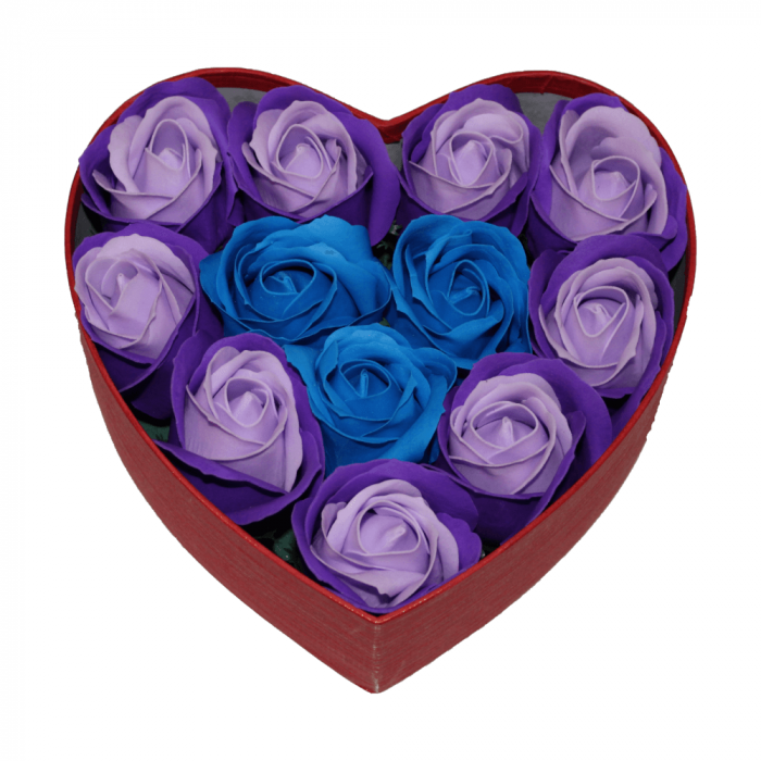 Aranjament trandafiri de sapun mov si albastri in cutie inima rosie 0