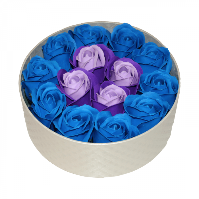 Aranjament trandafiri de sapun mov si albastri in cutie rotunda gold [0]