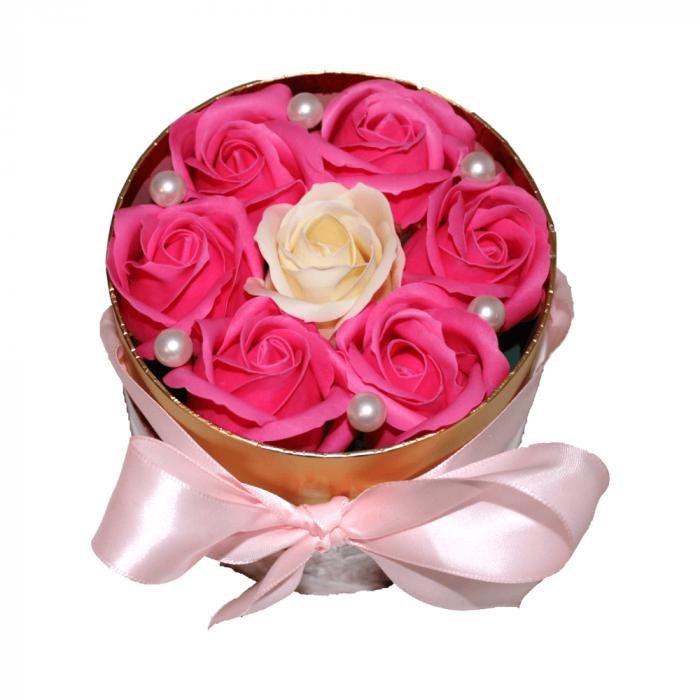 Aranjament trandafiri de sapun roz si ivoire in cutie cilindrica 0