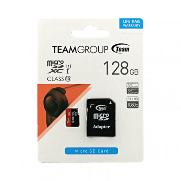 Card Memorie 128 GB Micro SDXC+Adaptor SD UHS-I Team [0]