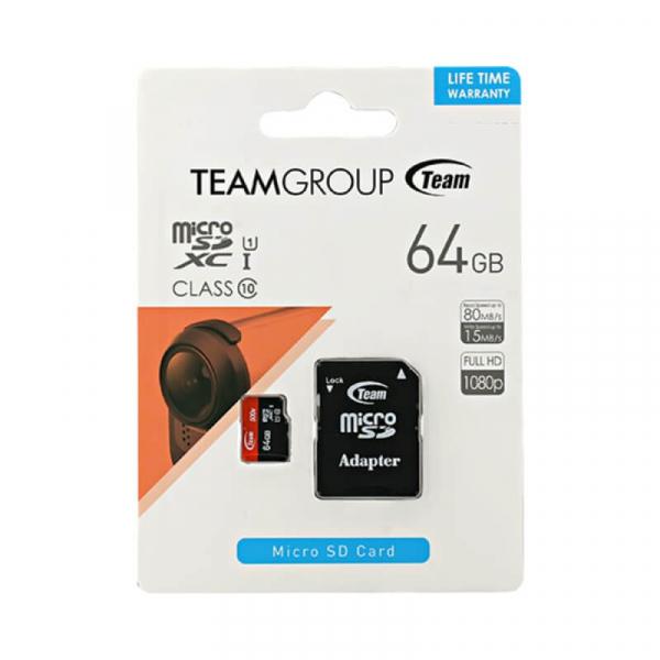 Card Memorie 64 GB Micro SDXC+Adaptor SD UHS-I Team 0