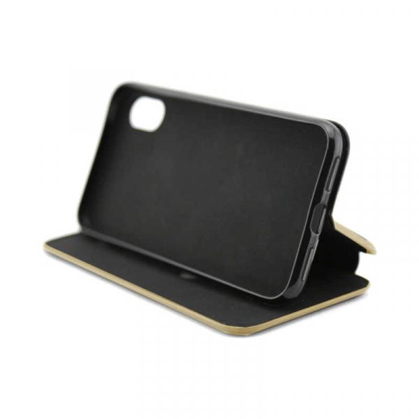 Comanda Acum!Husa Samsung Galaxy J4 Plus 2018 Gold Tip Carte Flip Cover din Piele Ecologica Portofel cu Inchidere Magnetica Auriu 2
