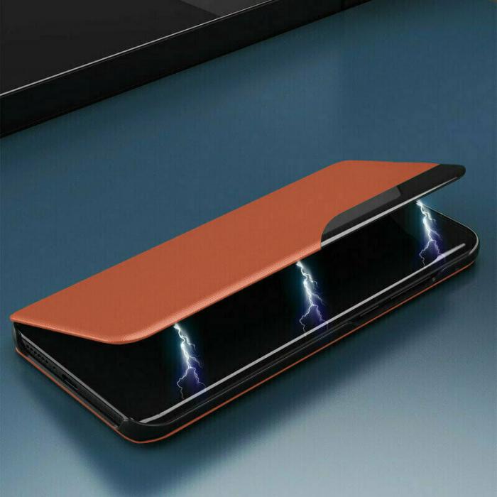 Husa Activa Xiaomi Redmi Note 9 Pro Tip Carte Flip Smart View Portocaliu [3]