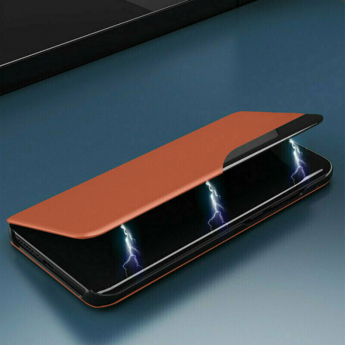 Husa Activa Xiaomi Redmi Note 9T Tip Carte Flip Smart View Portocaliu [3]