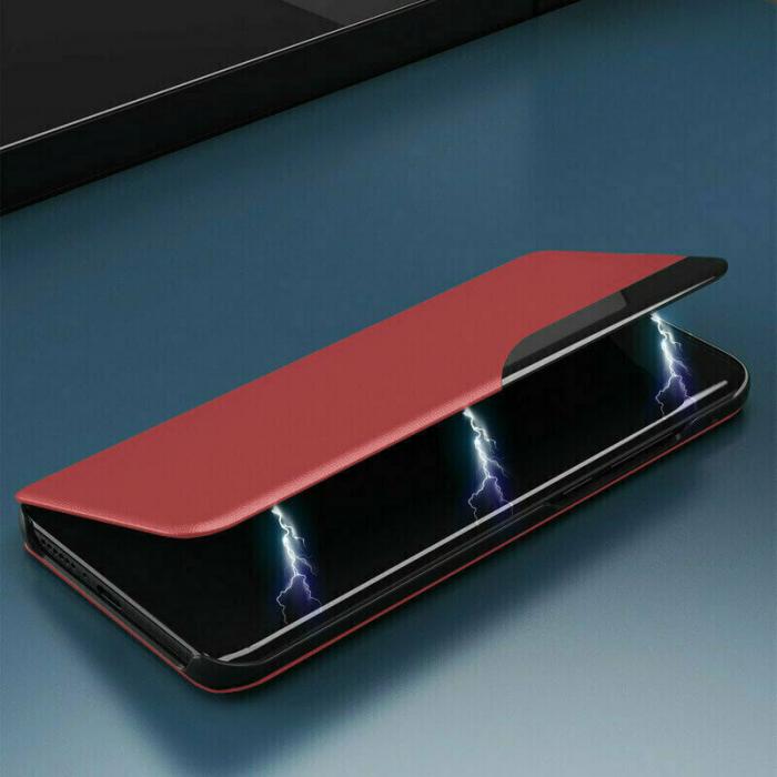 Husa Activa Xiaomi Redmi Note 9T Tip Carte Flip Smart View Rosu [3]