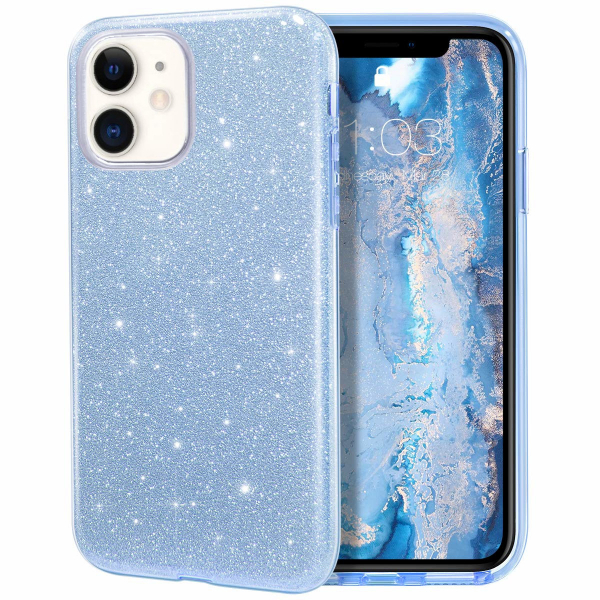 "Husa Apple iPhone 11 6.1"" Color Silicon TPU Carcasa Sclipici Albastru 0"