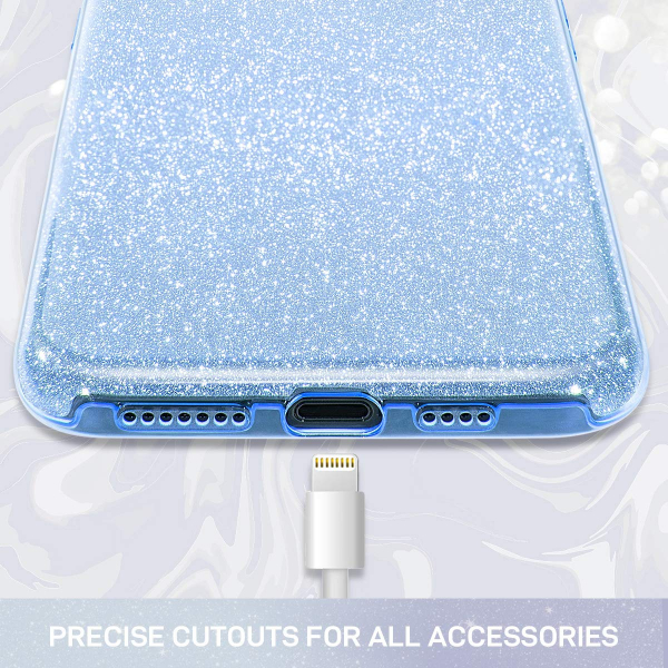 "Husa Apple iPhone 11 6.1"" Color Silicon TPU Carcasa Sclipici Albastru 1"