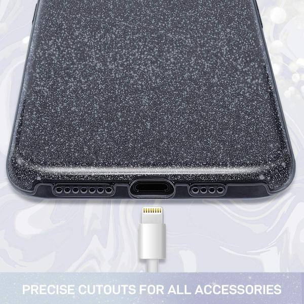 """Husa Apple iPhone 11 6.1"""" Color Silicon TPU Carcasa Sclipici Negru 1"""
