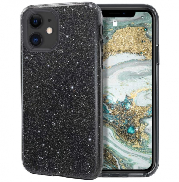 """Husa Apple iPhone 11 6.1"""" Color Silicon TPU Carcasa Sclipici Negru 0"""