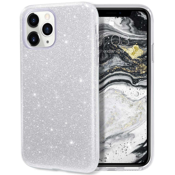 "Husa Apple iPhone 11 Pro 5.8"" Color Silicon TPU Carcasa Sclipici Argintiu 0"