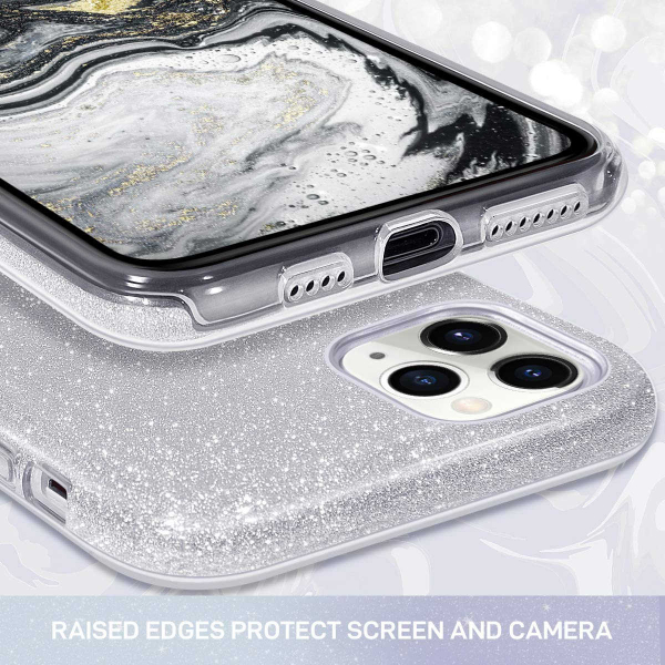 "Husa Apple iPhone 11 Pro 5.8"" Color Silicon TPU Carcasa Sclipici Argintiu 2"