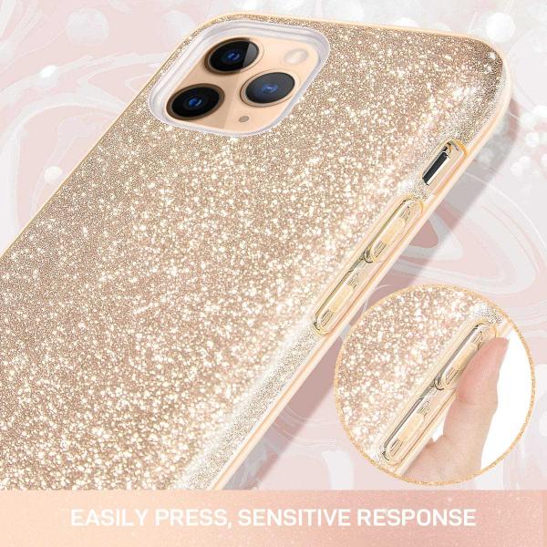 "Husa Apple iPhone 11 Pro 5.8"" Color Silicon TPU Carcasa Sclipici Auriu Gold 2"