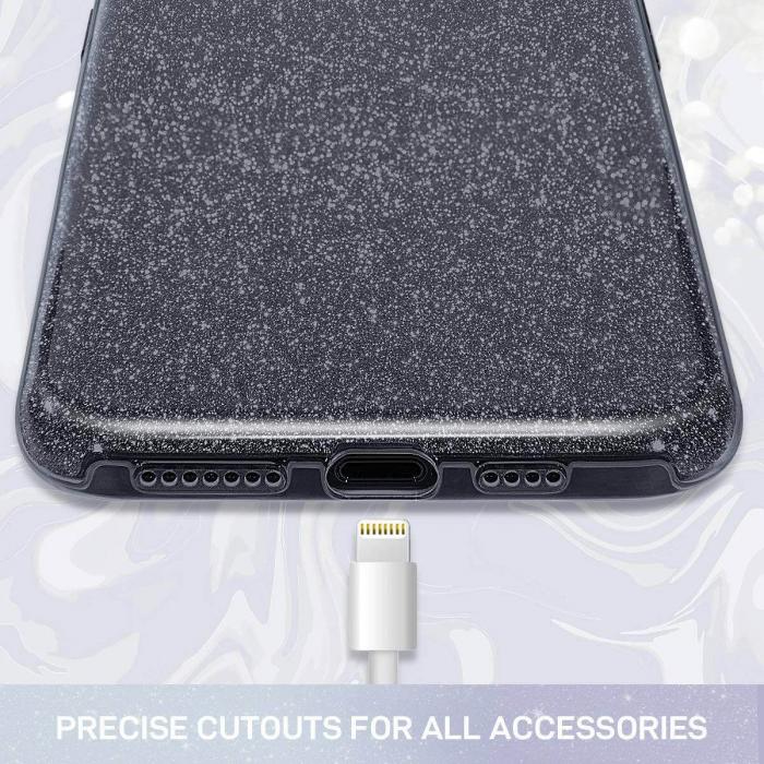 """Husa Apple iPhone 11 Pro 5.8"""" Color Silicon TPU Carcasa Sclipici Negru [1]"""