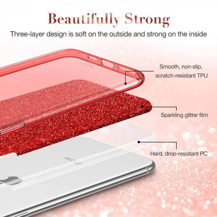 "Husa Apple iPhone 11 Pro 5.8"" Color Silicon TPU Carcasa Sclipici Rosu 3"