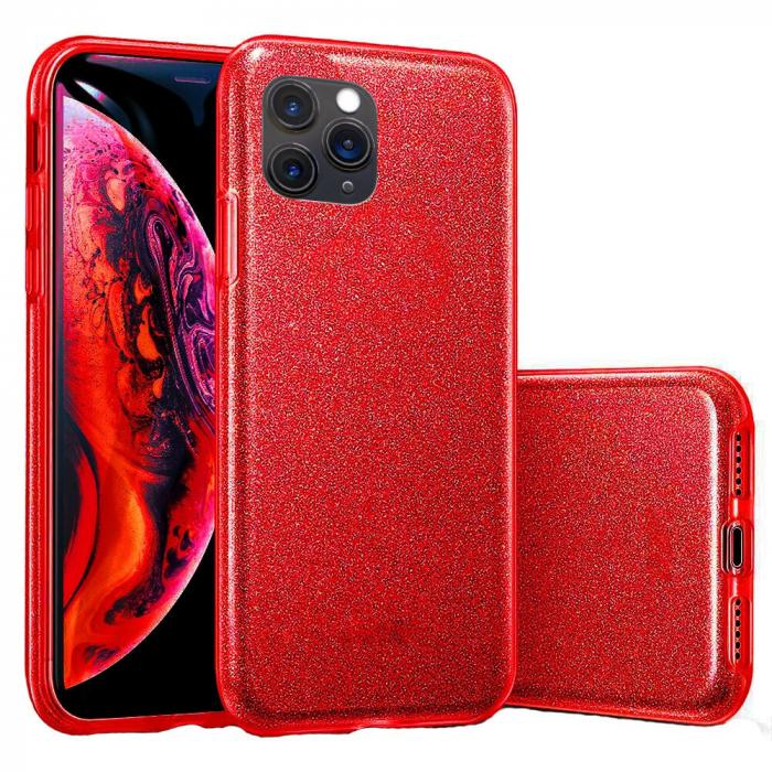 "Husa Apple iPhone 11 Pro 5.8"" Color Silicon TPU Carcasa Sclipici Rosu 0"