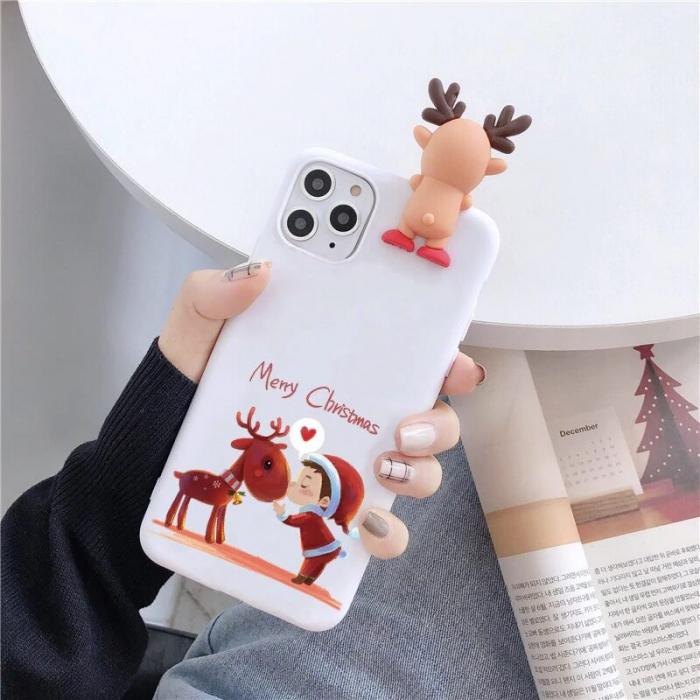 Husa Apple iPhone 11 Pro Max 2019 Model de Craciun Alba Copil si Ren + Figurina 3D [0]