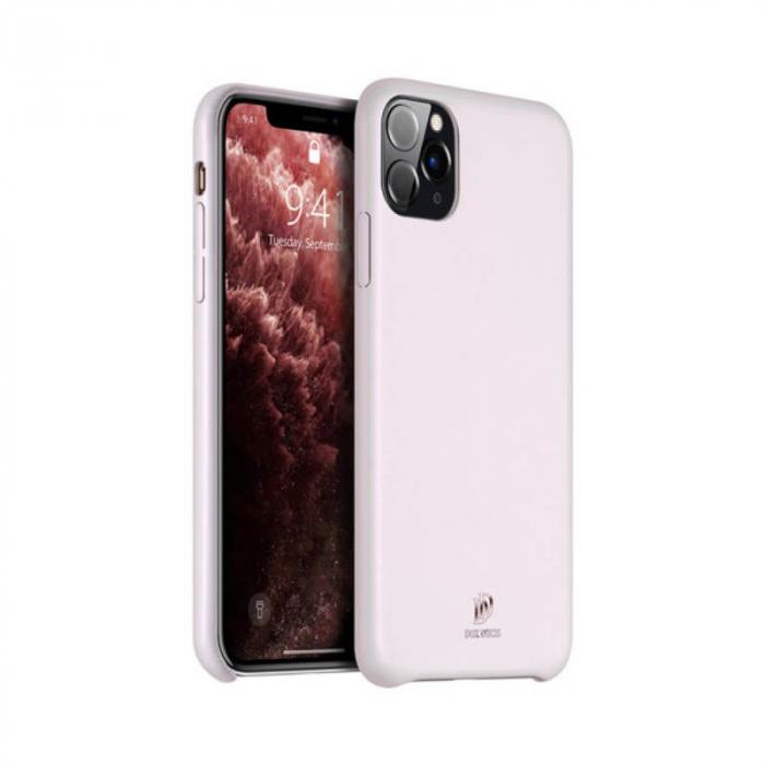 Husa iPhone 11Pro Max Silicon si Piele Eco Roz SkinLite DuxDucis [0]