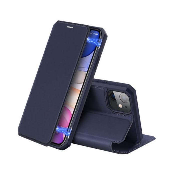Husa iPhone 12 Flip Tip Carte Albastru Piele Eco X-Skin [0]