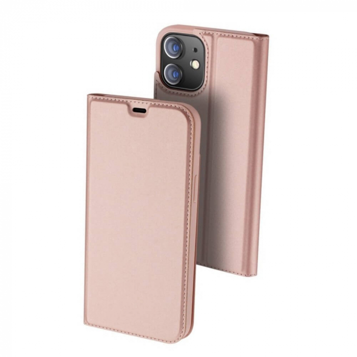 Husa Flip Apple iPhone 12 Tip Carte Roz Skin DuxDucis [0]