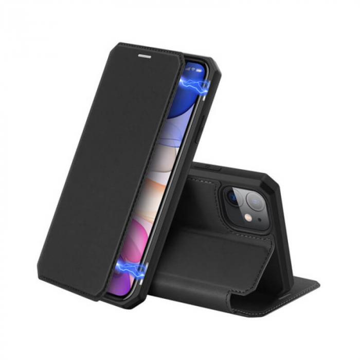 Husa iPhone 12 Flip Tip Carte Negru Piele Eco X-Skin [0]