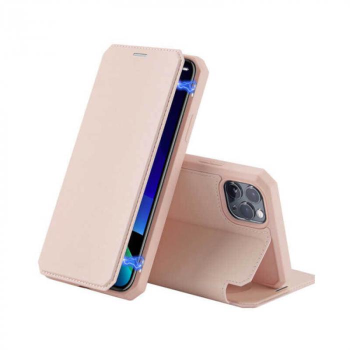 Husa iPhone 12Pro Max Flip Tip Carte Roz Piele Eco X-Skin [0]