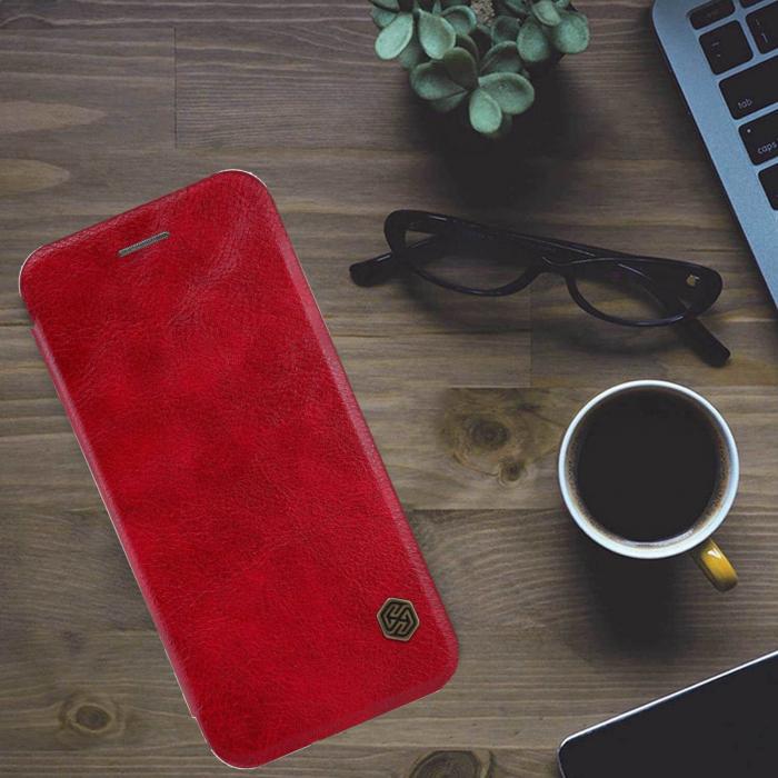 Husa Flip iPhone 12 Rosu Tip Carte Magnetica Nillkin Qin [3]