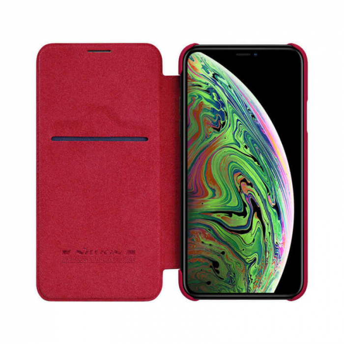 Husa Flip iPhone 12 Rosu Tip Carte Magnetica Nillkin Qin [1]