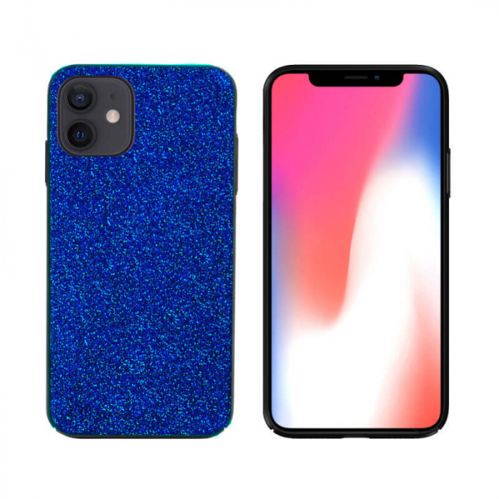 Husa Apple iPhone 12 Sclipici Albastru Carcasa Spate Dot [0]