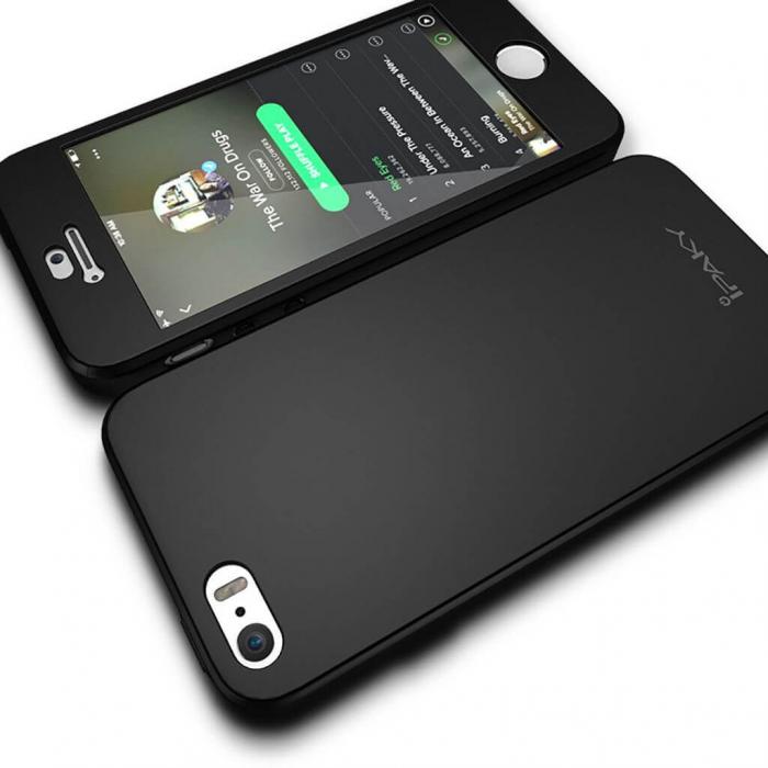 Husa Apple iPhone 5/5S Full Cover 360 Grade Neagra Ipaky 2