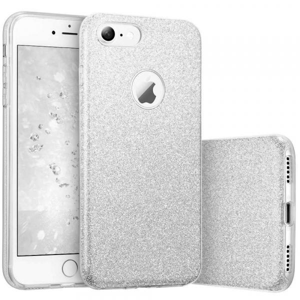 Husa Apple iPhone 7 / iPhone 8 Sclipici Carcasa Spate Argintiu Silicon TPU [0]
