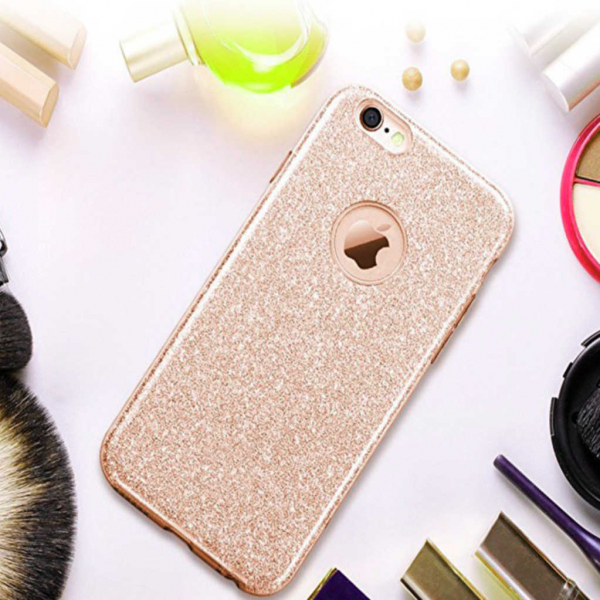 Husa Apple iPhone 7 / iPhone 8 Sclipici Carcasa Spate Auriu Gold Silicon TPU 1