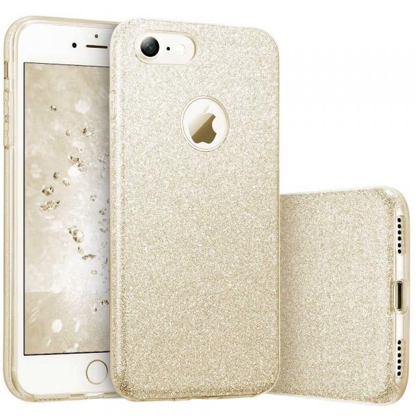 Husa Apple iPhone 7 / iPhone 8 Sclipici Carcasa Spate Auriu Gold Silicon TPU 0