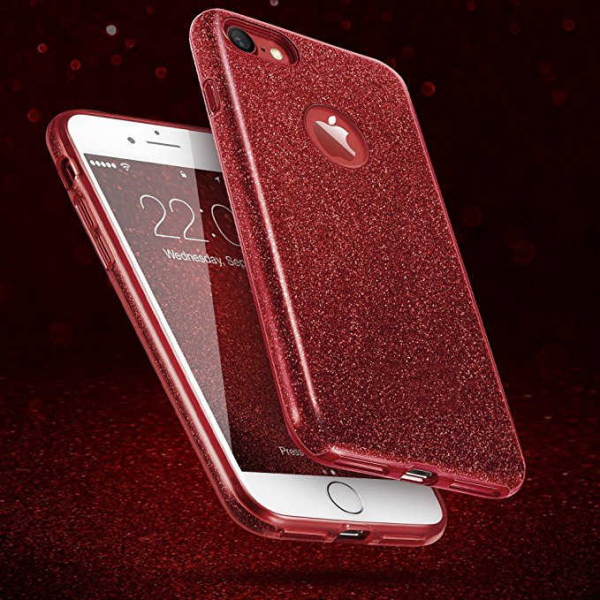 Husa Apple iPhone 7 / iPhone 8 Sclipici Carcasa Spate Rosu Silicon TPU 4