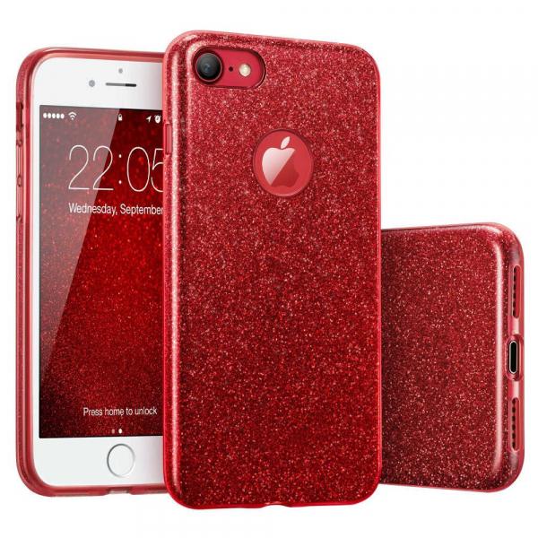 Husa Apple iPhone 7 / iPhone 8 Sclipici Carcasa Spate Rosu Silicon TPU 0