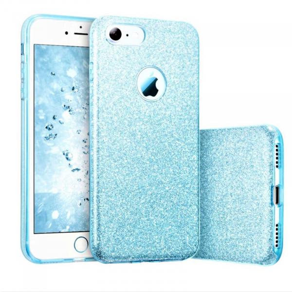 Husa Apple iPhone 7 Plus / iPhone 8 Plus Sclipici Carcasa Spate Albastru Silicon TPU 0