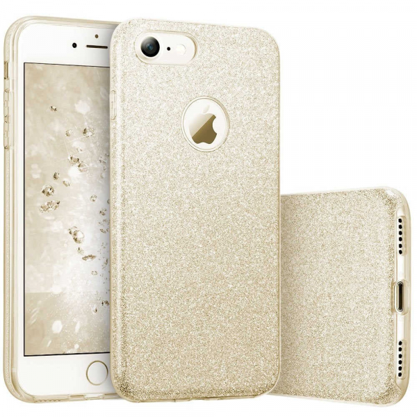 Husa Apple iPhone 7 Plus / iPhone 8 Plus Sclipici Carcasa Spate Auriu Gold Silicon TPU 0