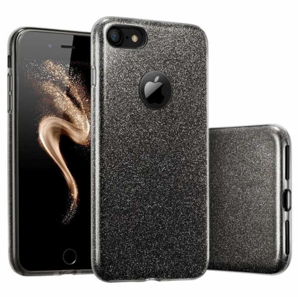 Husa Apple iPhone 7 Plus / iPhone 8 Plus Sclipici Carcasa Spate Negru Silicon TPU 0