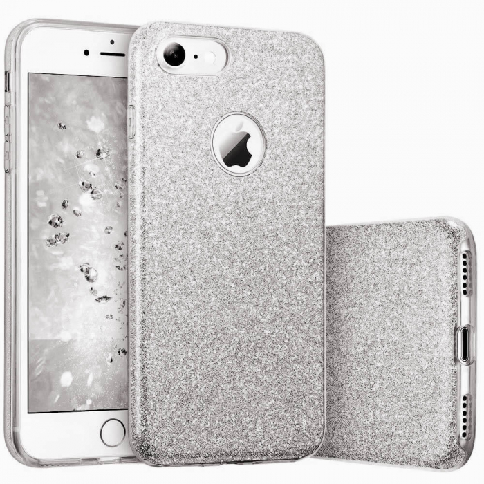 Husa Apple iPhone 7 Plus Sclipici Carcasa Spate Argintiu Silicon TPU [0]