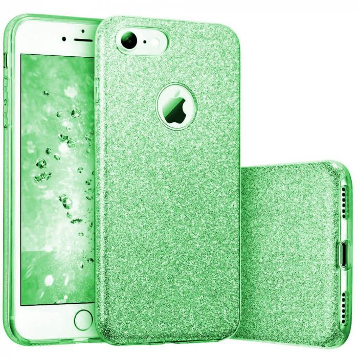 Husa Apple iPhone 7 Plus Sclipici Carcasa Spate Verde Silicon TPU [0]