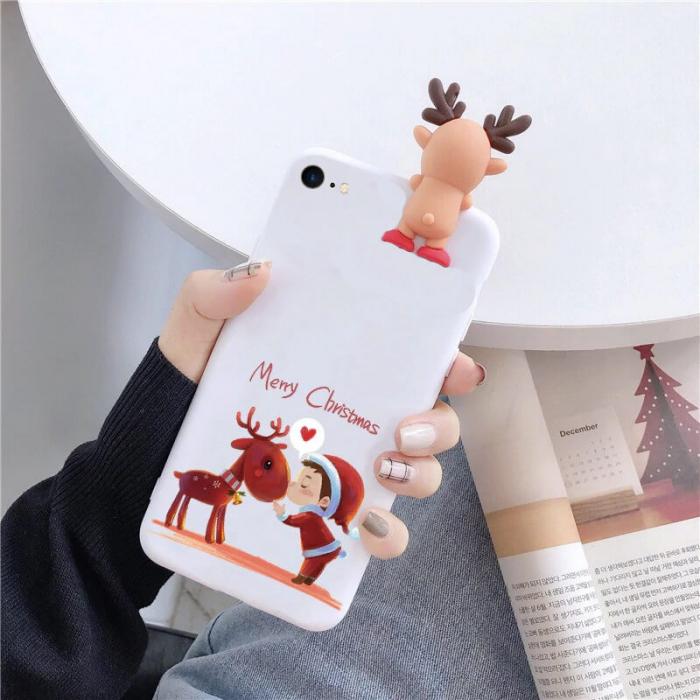 Husa Apple iPhone SE 2020 Model de Craciun Alba Copil si Ren + Figurina 3D [0]