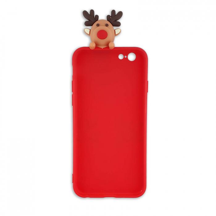 Husa Apple iPhone SE 2020 Model de Craciun Rosie Ren + Figurina 3D 2