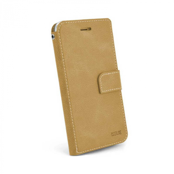Husa Flip Apple iPhone X Tip Carte Auriu Magnetica Hana Issue [0]