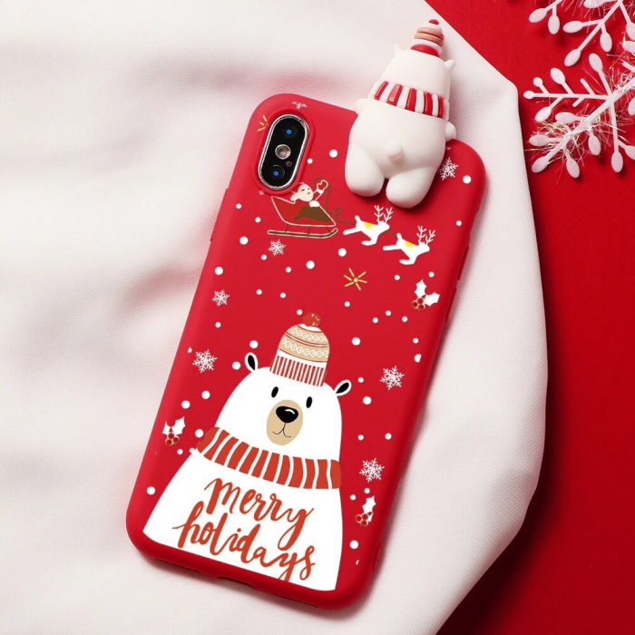 Husa Apple iPhone X Model de Craciun Rosie Urs Alb + Figurina 3D 0