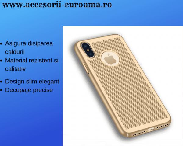Husa Apple iPhone X / XS Carcasa Spate Perforata Auriu Gold 0